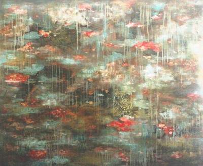 Haldane Water Lilies, 100 x 120cm, Oil & mixed media edit