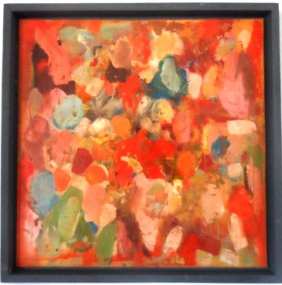 Haldane,A touch of red,44cm x 44cmx 3cm,float framed ,oil & mixed media on panel